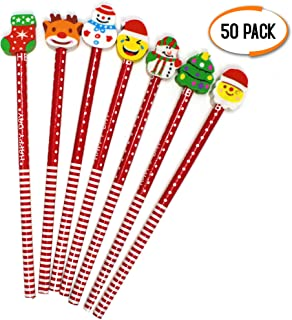 THE TWIDDLERS 50 Pcs Christmas Pencils and Erasers Set   Christmas Pencils Assorted Erasers Designs   Holiday Pencils Bulk   Christmas School Supplies   Christmas Party Gifts