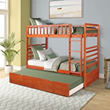 Merax Twin Bunk Bedsfor Kids Twin Over Twin Bunk Beds with Ladder and Safety Guardrail Triple Bunk Beds