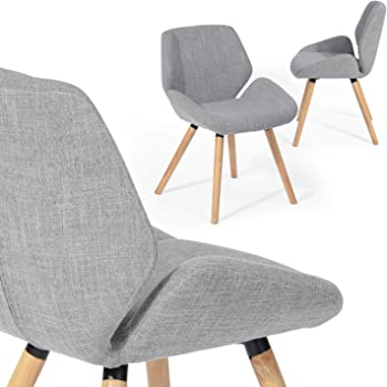 FurnitureR Juego de 2 sillas asombrosas para la Silla de la Sala de Estar y el Comedor con Patas de Madera y Respaldo y Asiento de Tela Silla de Oficina en casa