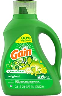 Gain Laundry Detergent Liquid Plus Aroma Boost, Original Scent, HE Compatible, 100 oz, 64 Loads (Packaging May Vary)