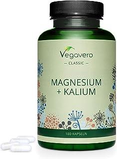 Magnesio + Potasio Vegavero® | Sin Aditivos & Apto Para Veganos | Testado en Laboratorio | 180 Cápsulas | Electrolitos & Sales Minerales | Relajante Muscular