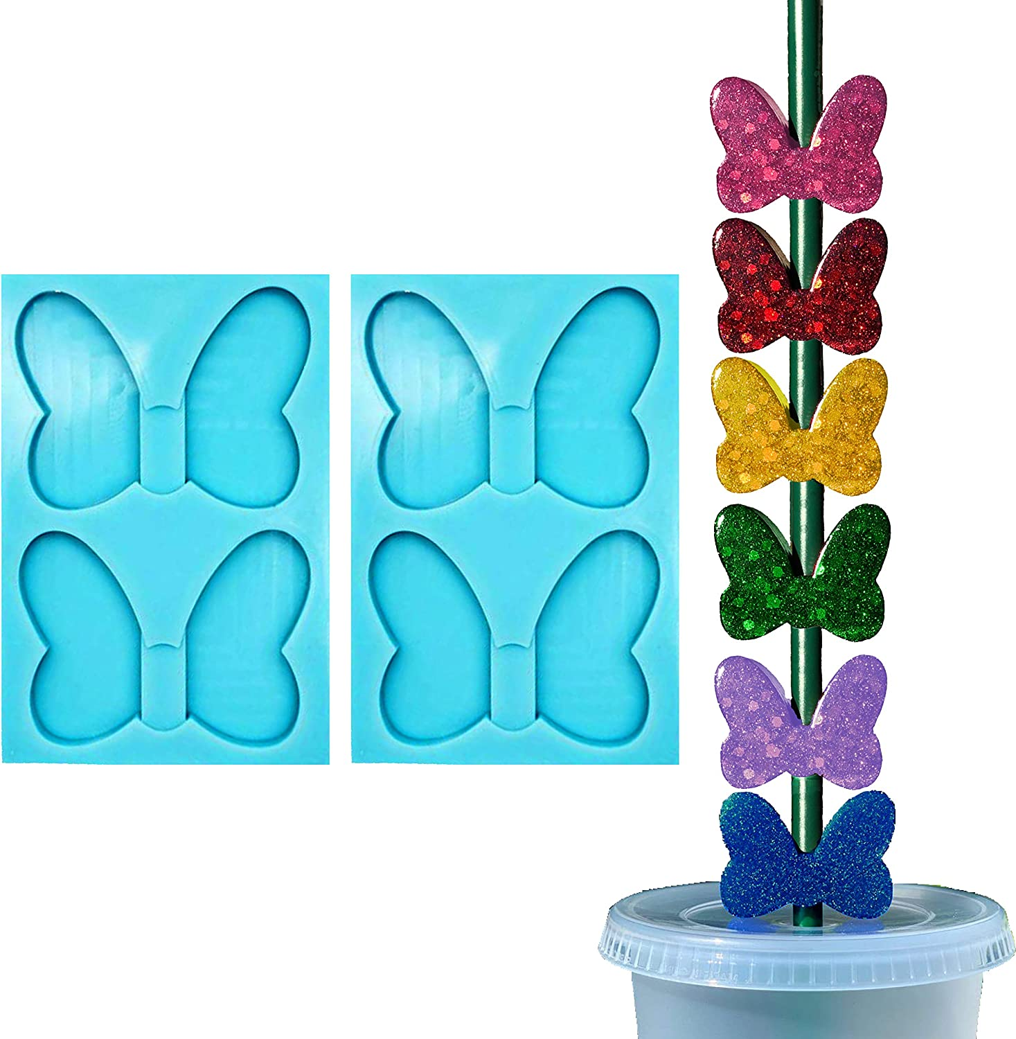 Butterfly Bow Max 56% OFF Straw Topper Silicone Mold Pieces 2 for Omaha Mall Re Epoxy