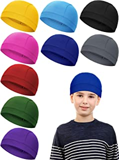 Syhood 9 Pieces Kids Helmet Liner Skull Caps Sweat Wicking Running Cycling Hat Child Beanie Hat