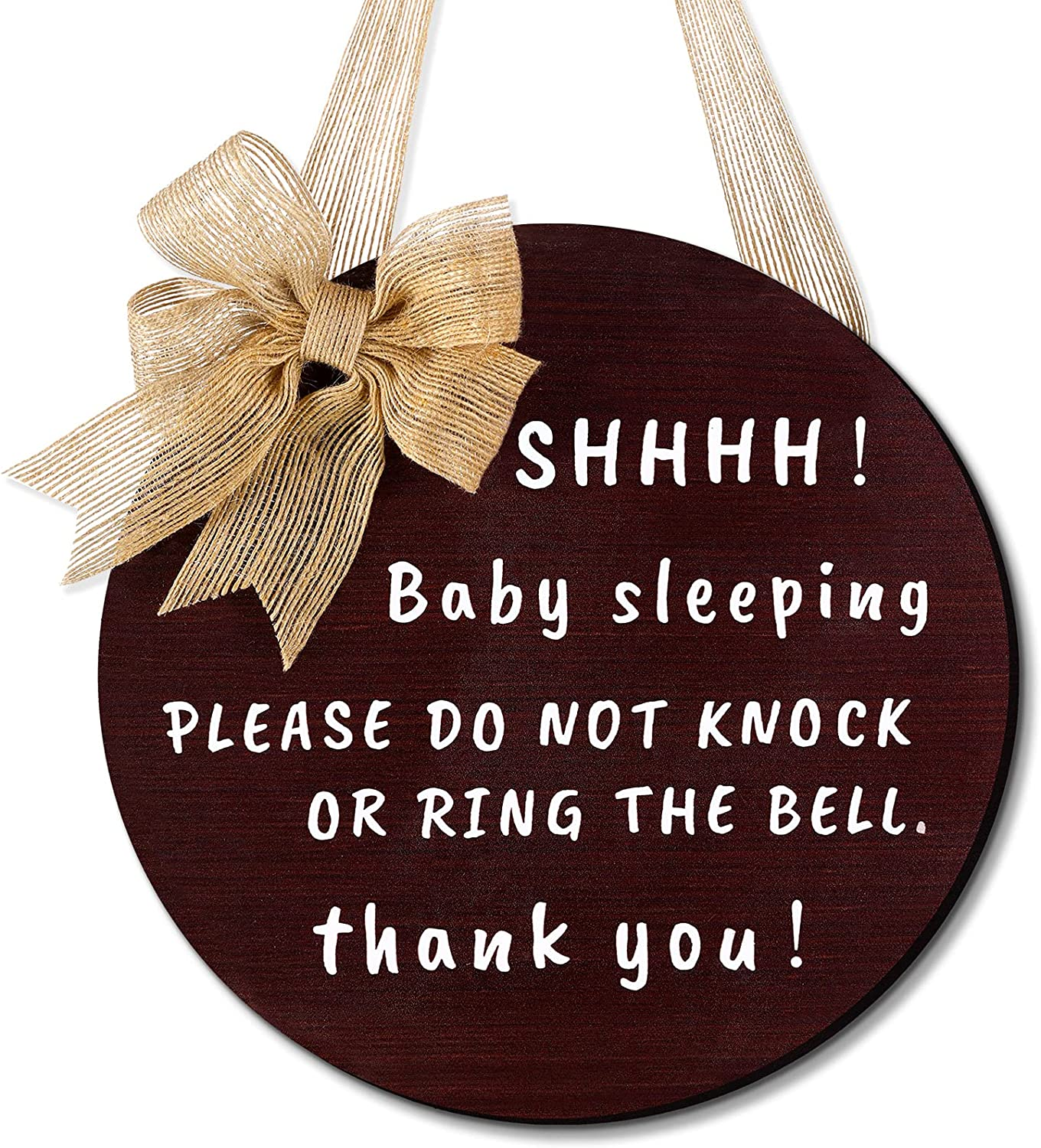 Yalikop Cute Bow Baby Sleeping Front Door Sign, Do Not Ring The Bell Do Not Disturb No Solicitation Sign Sleeping Baby Decorative Front Porch Sign for New Parent, 10 Inches, Round (Brown)