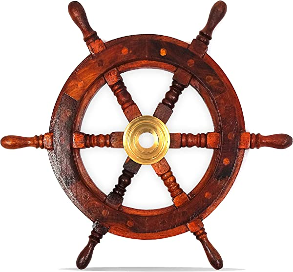 Nautical Decor Sheesham Wood Decorative Ship Wheel With Brass Center Home Decoration Gifts 14 5