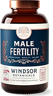 Male Fertility Supplement by Windsor Botanicals - Male Reproductive Health Support - Improved Sperm Count, Motility and Vo...