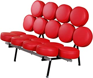Emorden Furniture George Nelson Marshmallow Sofa in Red Italian Leather, Comfortable, Solid, Durable, Artistic, Easy Cleaning & Interchanged, Floor Protector Pads Adjustable