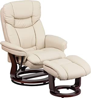 Flash Furniture Contemporary Beige Leather Recliner and Ottoman with Swiveling Mahogany Wood Base (Renewed)