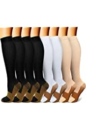 +17 colors/patterns                    CHARMKING       Copper Compression Socks(8 Pairs) for Men & Women 15-20 mmHg is Best Athletic & Daily for Running Flight Travel Climbing           4.6 out of 5 stars     3,251        $19.99$19.99                 FREE Shipping over $25 by Amazon