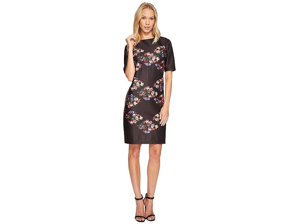 Taylor 3/4 Sleeve Placed Floral Print Shift (Black/Rose) Women