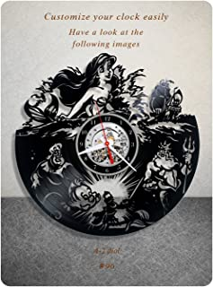The Little Mermaid vinyl clock, walt disney vinyl wall clock, vinyl record clock hans christian andersen animated fantasy film princess ariel kids clock wall art home decor 096 - (a2)