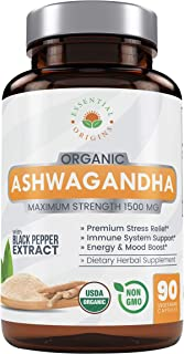 Organic Ashwagandha Capsules 1500mg, 100% Pure Ashwaganda Root Powder & Black Pepper Extract, Anti Anxiety Herbal Supplement, Natural Stress Relief, Adrenal & Thyroid Support Pills for Women & Men