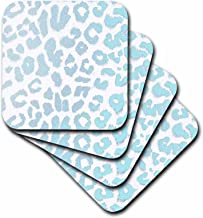 3dRose cst_30861_2 Turquoise Jewel Leopard Print Animal Prints Fashion-Soft Coasters, Set of 8