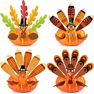 Outus Thanksgiving Pumpkin Turkey Making Kit for Thanks and Gives Party Fall Turkey Craft Kit Thanksgiving Party Games