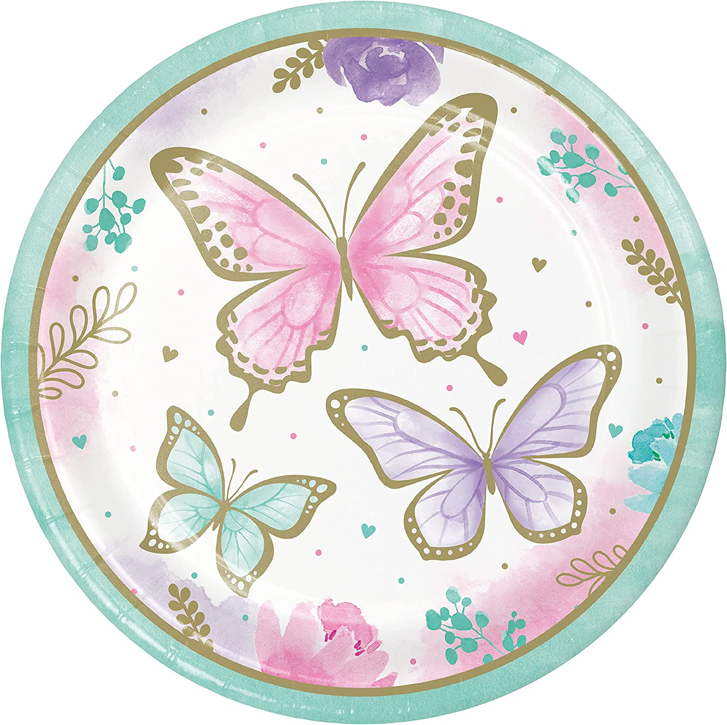 Golden Butterfly Paper Plates, 24 ct