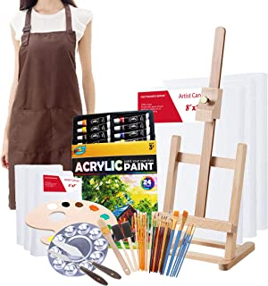 S & E TEACHER'S EDITION Complete Acrylic Paint Set, 60Pcs Professional Painting Supplies Set, Adjustable Easel, Canvases, Artist's Smock, Paint Palette, Paint Knives, Paintbrushes and More