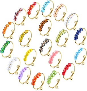 FIBO STEEL 20 Pcs Anxiety Ring for Women Men Colorful Fidget Rings with Beads Adjustable Spinner Rings for Stress Anxiety ...