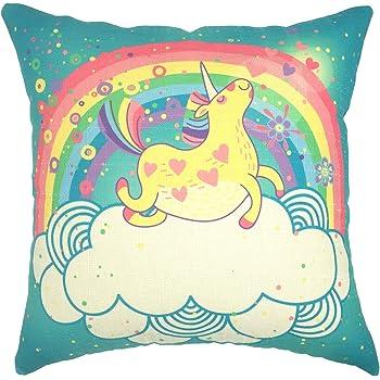 YOUR SMILE Unicorn Rainbow Cotton Linen Square Decorative Throw Pillow Case Cushion Cover 18x18 Inch(44CM44CM) (Color#213)