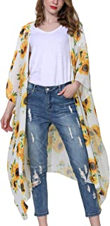 Women's Floral Kimono Cardigan Sheer Tops Loose Blouse Cover Ups