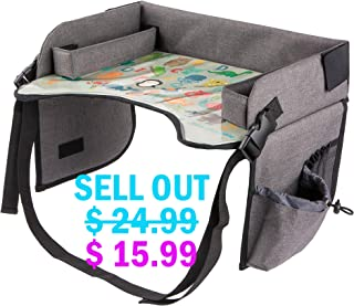 Kids Travel Tray with Erasable Surface for Car Seat, Stroller and Airplane Traveling, Infant and Toddler Snack and Play Tray, Lap Tray, Activity Tray, Table Tray with Mesh Organizer and Cup Holder