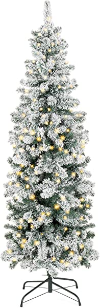 Best Choice Products 7 5ft Pre Lit Artificial Snow Flocked Pencil Christmas Tree Holiday Decoration W 350 Clear Lights