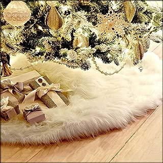 Christmas Tree Skirts - Snowy White Tree Skirt Christmas Ornaments Faux Fur Snowman Santa Reindeer Decoration