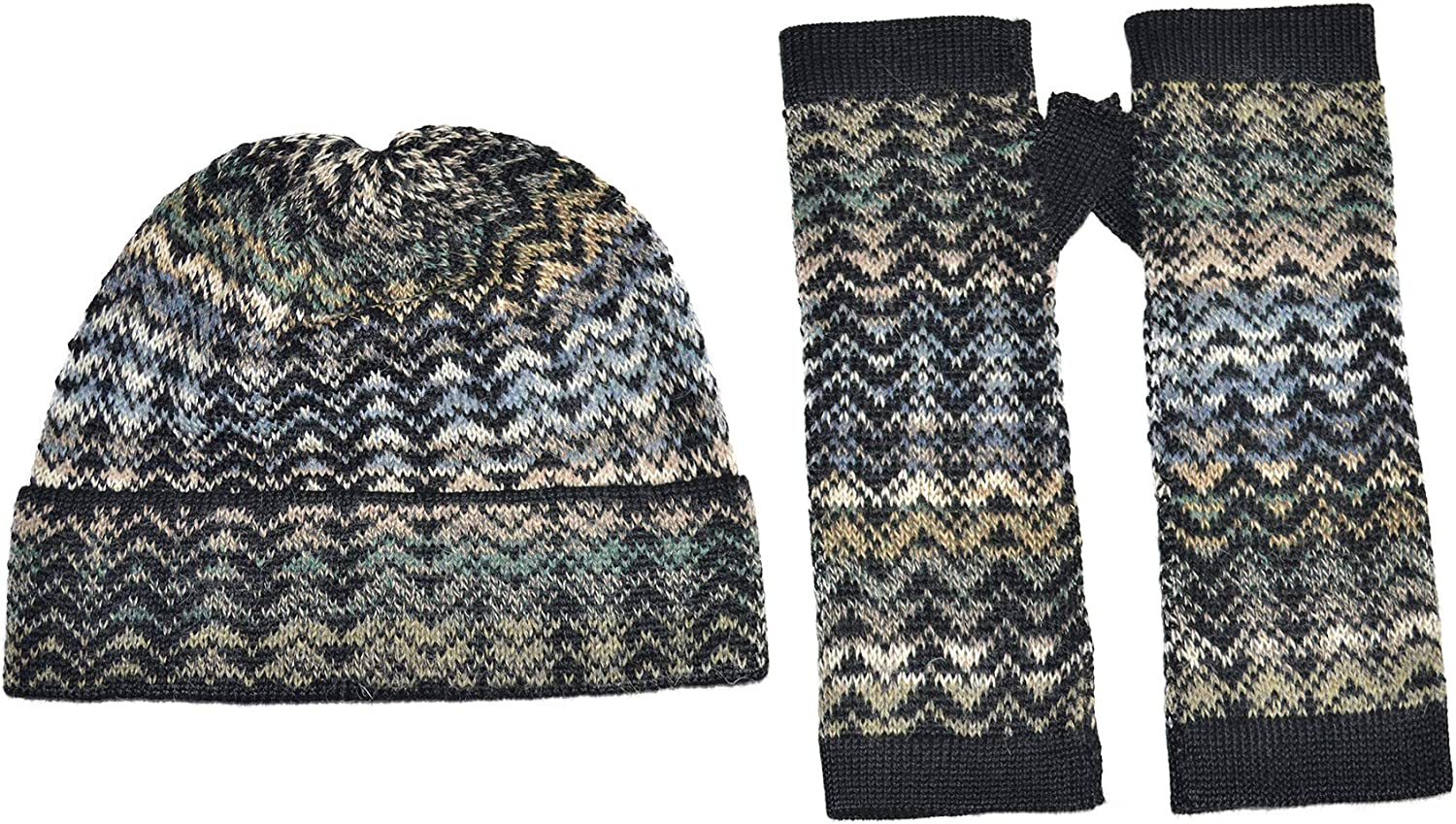 Invisible World Women's Alpaca Wool Fingerless Glove and Hat Sets Knit Winter Noelle Set