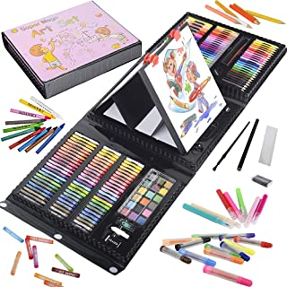 KINSPORY 208 PCS Kids Coloring Art Set Painting Drawing Supplies Kit, Markers, Oil Pastels, Crayons, Colour Pencils, Water...