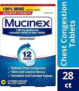 Chest Congestion, Mucinex Maximum Strength 12 Hour Extended Release Tablets, 28ct, 1200 mg Guaifenesin with extended relief of  chest congestion caused by excess mucus, thins and loosens mucus