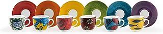 Excelsa Afrika Set 6 tasses à café avec soucoupes 90 ml, Porcelaine, Multicolore
