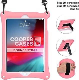Funda para Apple iPad 6, iPad 5, iPad Air 1, [Funda Resistente de Mano con Correa] Cooper Bounce Strap All-in-One Estuche con soporte ajustable, resistente a caídas y golpes, para niños y adultos, rosa