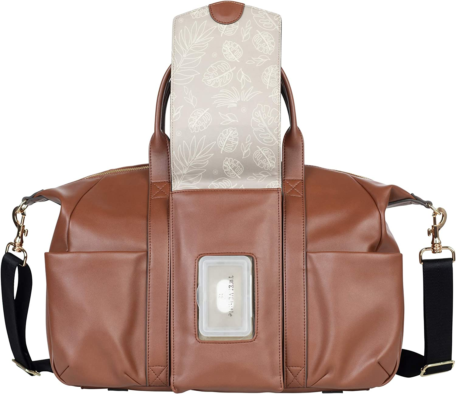Includes Wipe Pouch and Changing Pad - Fashion Diaper Bag Made of Vegan Leather Toffee TWELVElittle Peek-A-Boo Satchel Diaperbag