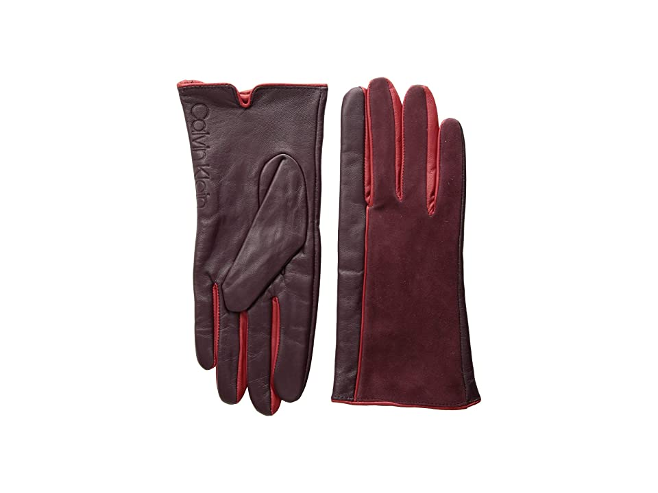 Calvin Klein Leather/Suede Gloves w/ Pop Color Fourchettes (Dark Cranberry) Extreme Cold Weather Gloves