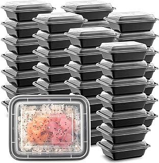 ظروف بسته بندی مواد غذایی مایکروویو پلاستیکی 50 بسته کوچک و کوچک 12 OZ. جعبه ناهار قابل استفاده مجدد از مستطیل سیاه ، جعبه بدون غذای بدون فشار BPA- ماشین ظرفشویی فریزر ایمن-کیفیت عالی