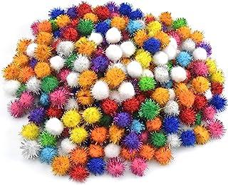 Changrongsheng 300 Pcs Paillettes Pompons Boules Chat Pompon Balle Jouet Tinsel Pom Pom Doux Interactif Jouet Pour Chat Ch...