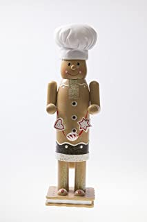 Clever Creations Traditional Christmas Gingerbread Man Nutcracker White Chef's Hat | Graham Cracker S'More Base | 14