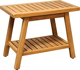 """Asta 24"""" Country Solid Teak Indoor Outdoor Shower/Bath/Spa Bench, Side Table, with Bottom Shelf, Fully Assembled, TB-123A"""