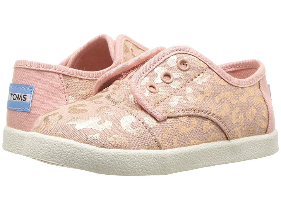 1629aa51eea TOMS Kids Paseo (Infant Toddler Little Kid) (Rose Gold Slub Chambray Cheetah  Print) Girl s Shoes