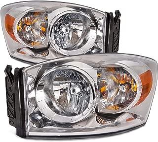 HEADLIGHTSDEPOT Halogen Headlights Chrome Housing Compatible with Dodge Ram 1500 2500 3500 (Pair)