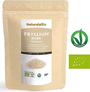 Cáscara de Psyllium Ecológico [99% Pureza] 1 Kg   Psyllium Husk, Natural y Puro   100% cutícula de semillas de Psilio Orgánico, producido en India. Rico en Fibra, para añadir al Agua, Bebidas y Zumos.