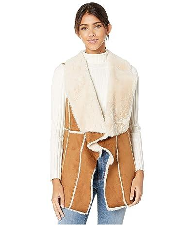 Cupcakes and Cashmere Tash Faux Suede and Fur Drape Front Vest (Butterscotch) Women