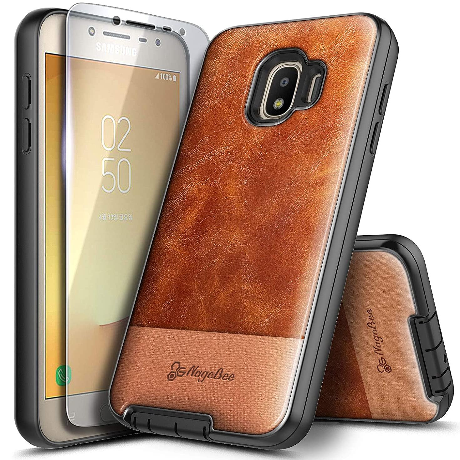 Galaxy J2 Case, J2 Core /J2 Dash /J2 Pure Case with Tempered Glass Screen Protector, NageBee Premium Cowhide Leather Shockproof Hybrid Defender Rugged Durable Case for Samsung Galaxy J2 2019 -Brown
