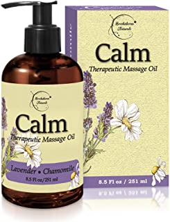 Calm Massage Oil with Lavender & Chamomile Essential Oils to Relax Sore Muscles - for Massage Therapy & Home use – with Co...