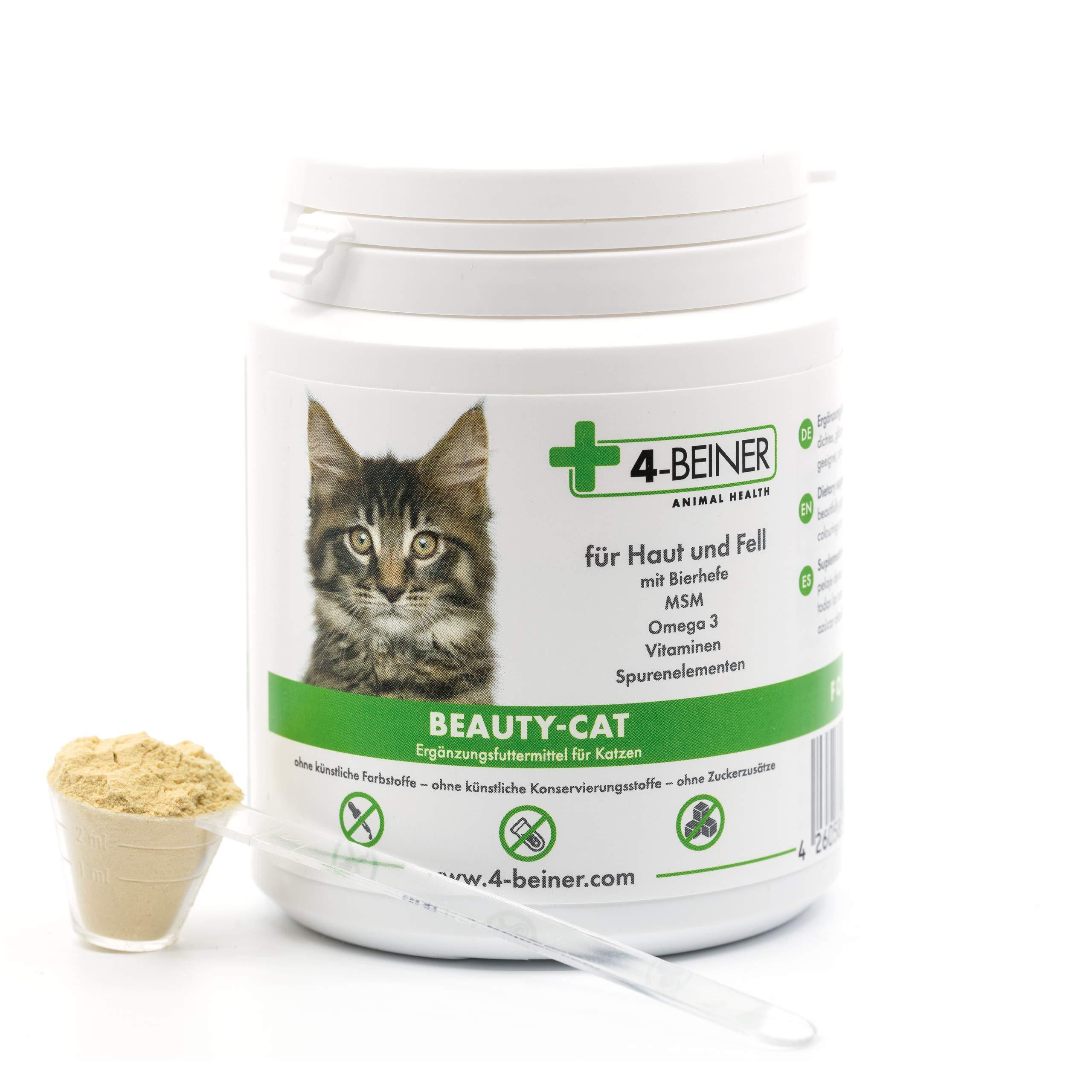 4 patas BEAUTY-CAT – Brillante piel Plus Fuerza, vitaminas para gatos con Omega 3, MSM, vitamina B complejo, vitamina C, biotina, cardo de mar, levadura de cerveza, zinc, selenio, 90 g polvo: