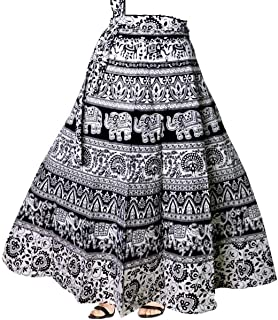 MARWAR Skirt Women's Mandala Hand Block Printed Long Wrap Around (Multicolor,Free Size)