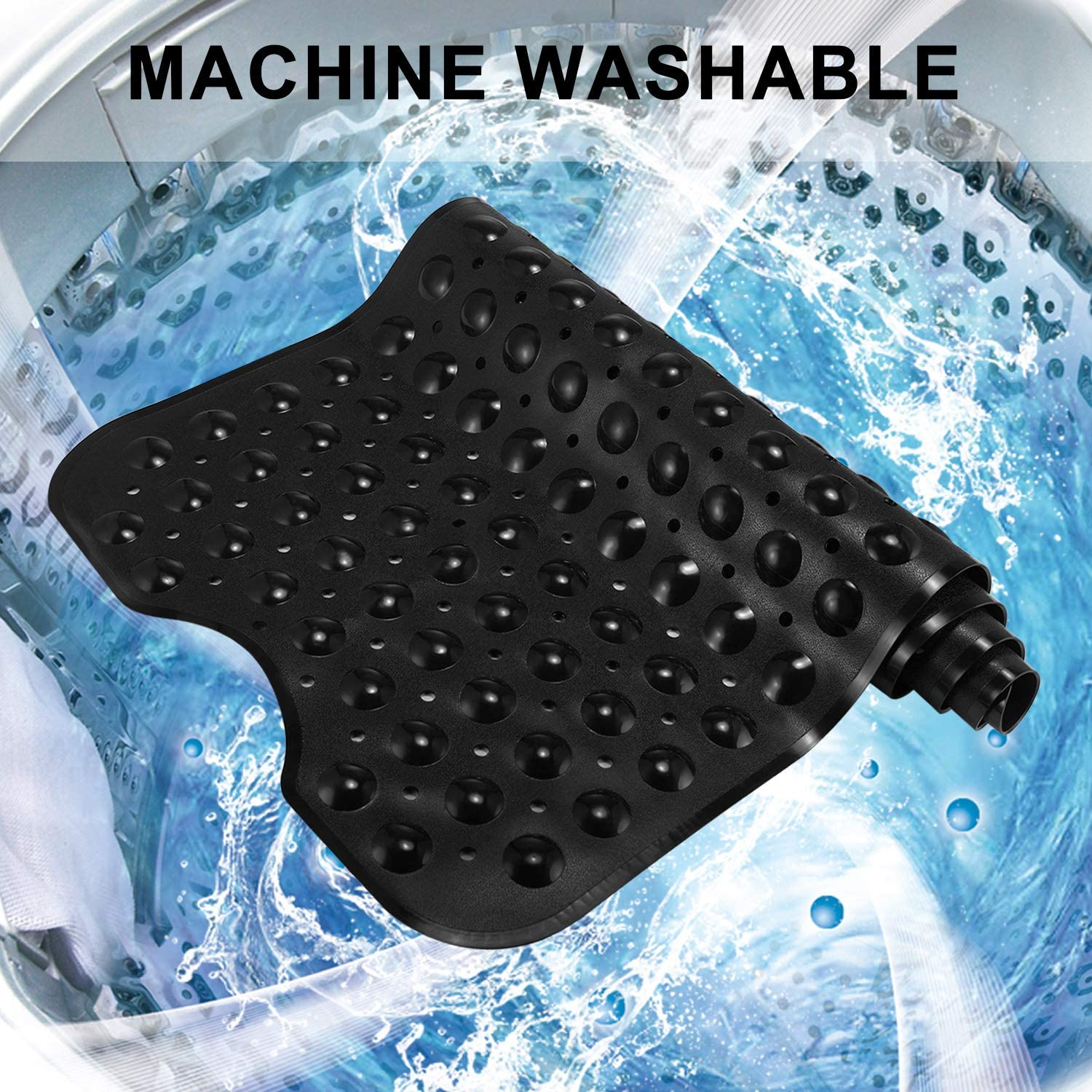 YINENN Bath Tub Shower Mat 40 x 16 Inch Non-Slip and Extra Large, Bathtub Mat with Suction Cups, Machine Washable Bathroom Mats with Drain Holes, Black : Home & Kitchen