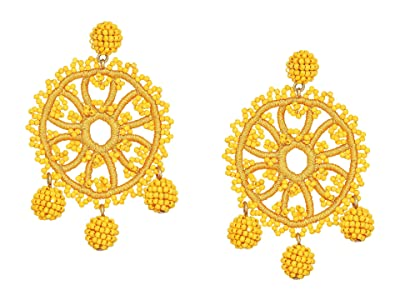 J.Crew Beaded Crochet Flower Earrings (Honey Glaze) Earring