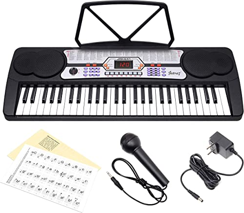 Juarez Octav JRK541 54 Key Portable Electronic Keyboard With LED Digital Display Adapter Key Note Stickers Microphone Music Sheet Stand 100 Rhythms 100 Timbres 8 Demos 8 Percussions