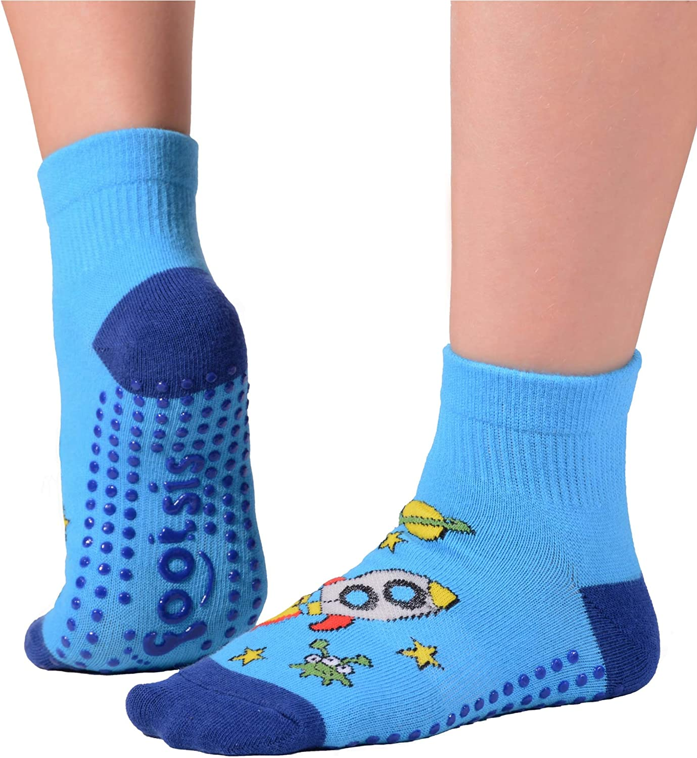 FOOTSIS Non Slip Grip Socks for Yoga, Pilates, Barre, Home, Hospital ,Mommy and Me classes 'Rocket'