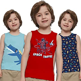 V.&GRIN Toddler Boys Tank Tops, 100% Cotton Dinosaurs Undershirts 3 Pack Tanks Set for Boys 4-7 Years